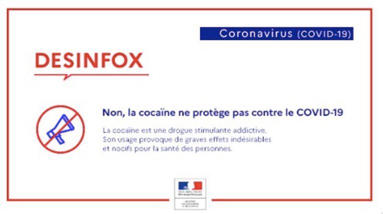 Het bericht van het Franse ministerie.