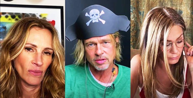 Julia Roberts, Brad Pitt en Jennifer Aniston.  Beeld