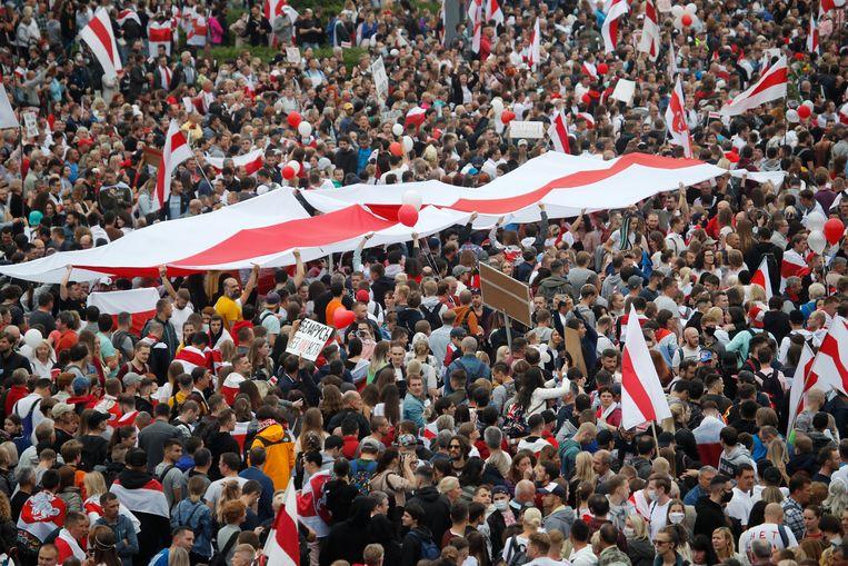 Protesten in Minsk, zondag. Beeld AP