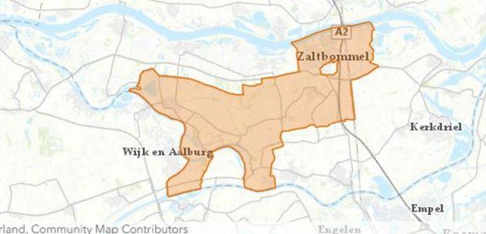 Het gebied waar mensen volgens Liander zonder stroom zitten.