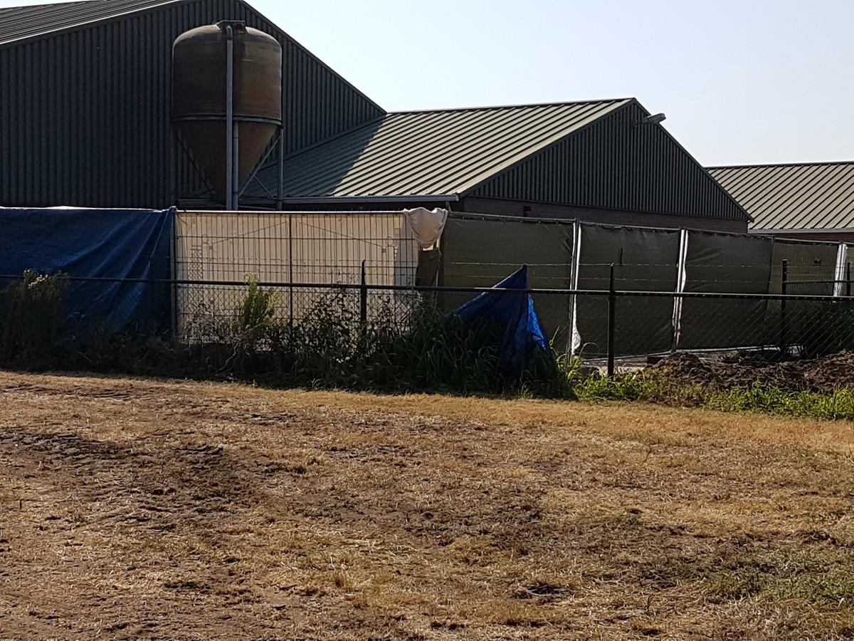 De stal waarin de varkens overleden is aan het zicht onttrokken.