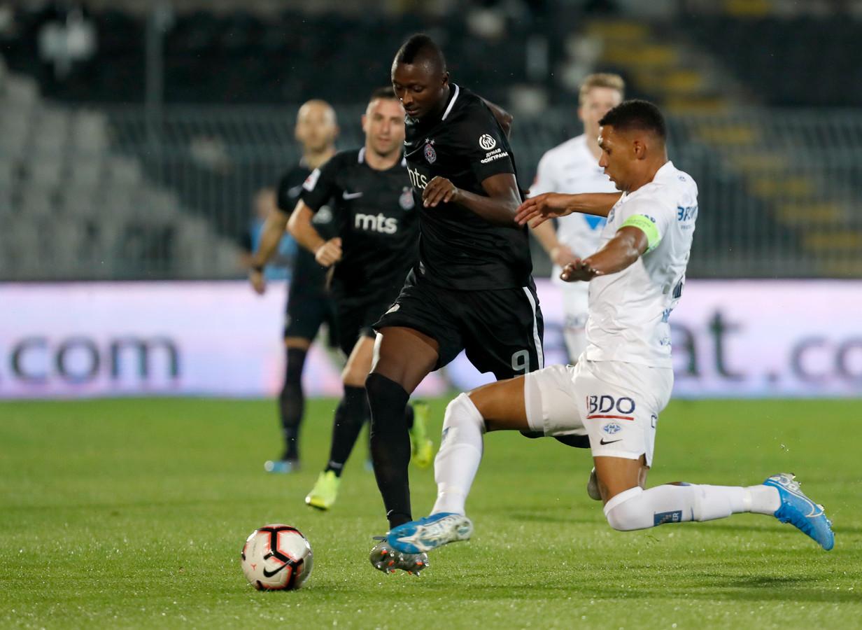 Voormalig NAC-spits Umar Sadiq speet dit seizoen voor Partizan.