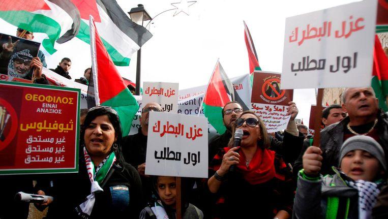 Palestijnen demonstreren in Bethlehem. Beeld AFP