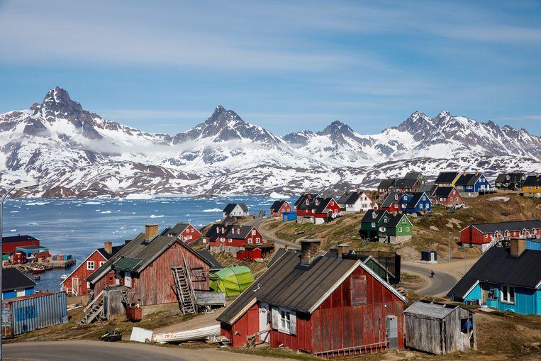 Haven van Tasiilag in Groenland. Het grootste eiland ter wereld beschikt over grote reserves aan grondstoffen.  Beeld REUTERS/Lucas Jackson