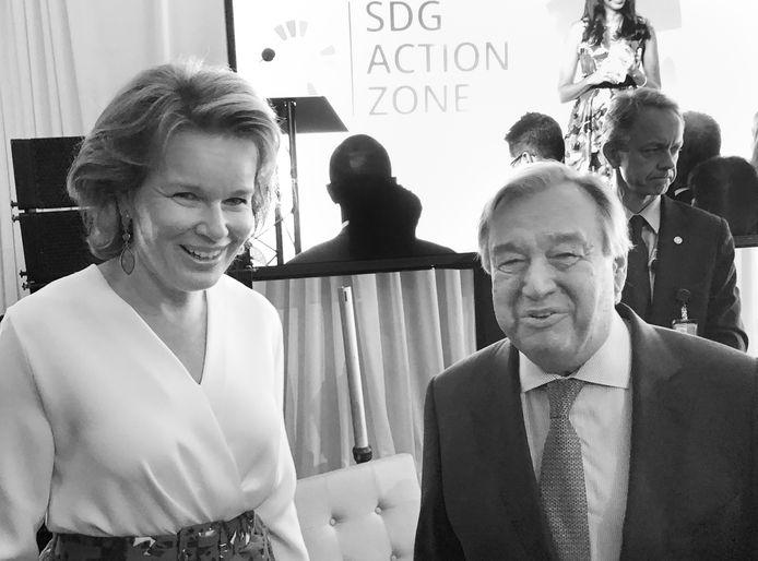 Koningin Mathilde samen met VN-secretaris-generaal Antonio Guterres.