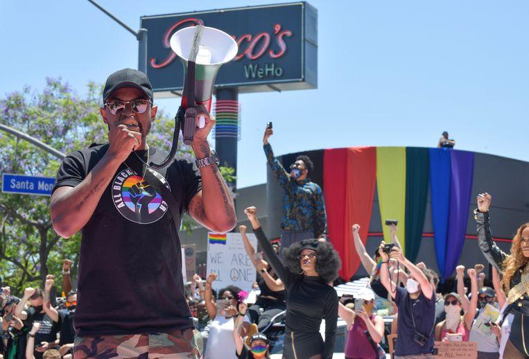 Een All Black Lives Matter Solidarity March in Los Angeles dit weekend.  Beeld Getty
