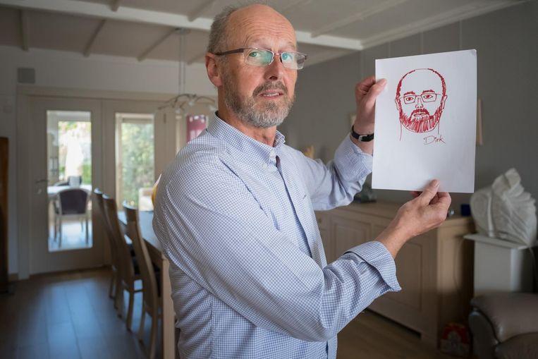 Kunstenaar Dirk Cortebeeck met zijn zelfportret.