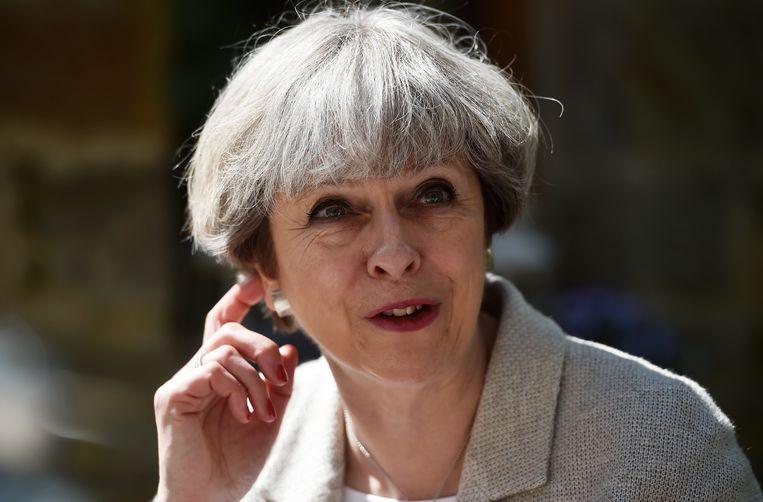 Theresa May tijdens de campagne. Beeld getty