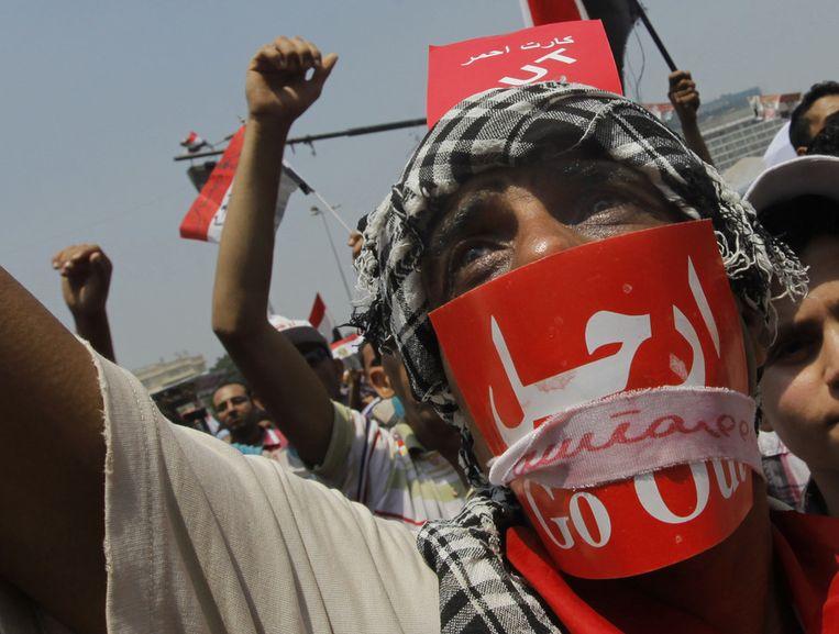 Tegenstanders van president Morsi. Beeld null
