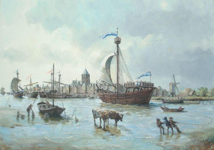 Kunstschilder Albert de Lange uit Wormer schilderde in opdracht van onderwaterarcheoloog Wouter Waldus de IJsselkogge in volle glorie voor het stadsfront van Kampen.