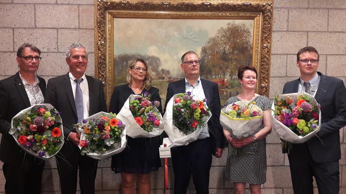 Nieuw college van B en W van Terneuzen: Frank van Hulle, Jack Begijn, Paula Stoker, Jurgen Vervaet, Sonja Suij en Ben van Assche (vlnr).