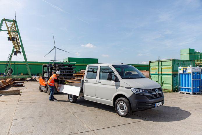 De Transporter als pick-up met dubbele cabine.