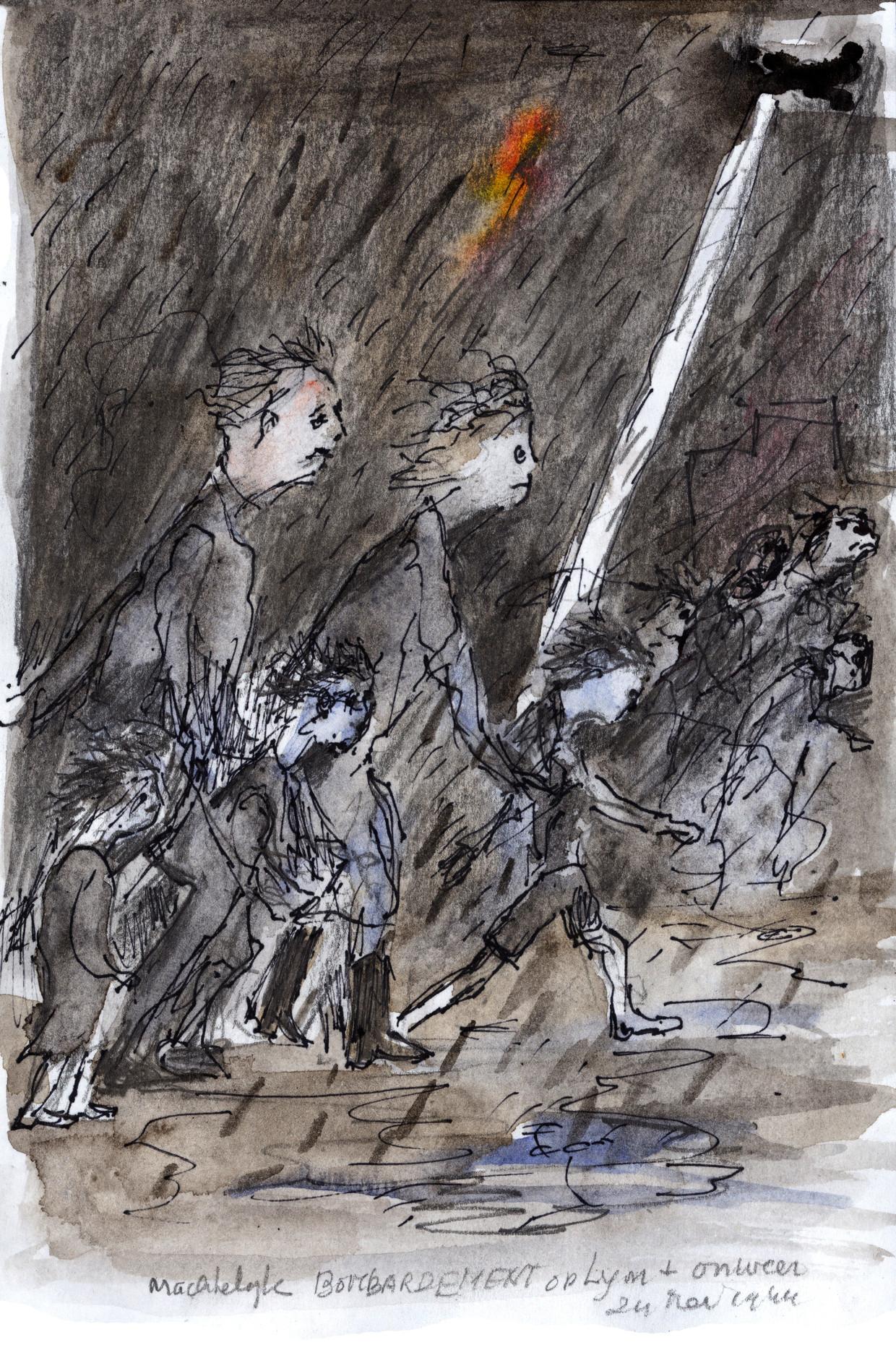 Bombardement Lyon, 1944. Jaap, Nel, Riet, Jacques en Kees van der Sluis.