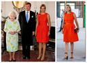 Links: in 2013 met Queen Elizabeth, rechts: gisteren tijdens een werkbezoek.