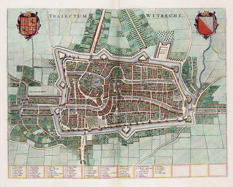 Een 17de-eeuwse stadskaart van Utrecht. De Singel loopt rond de stad, met links de Vecht en onder de Leidse Rijn. Beeld Stadsganzenbord