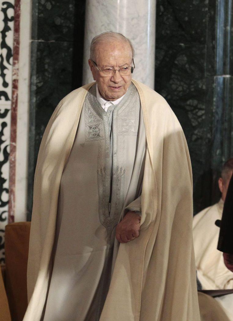 Beji Caid Essebsi, de huidige president van Tunesië, tijdens een religieuze ceremonie voor de verjaardag van de Profeet Mohammed. Beeld reuters
