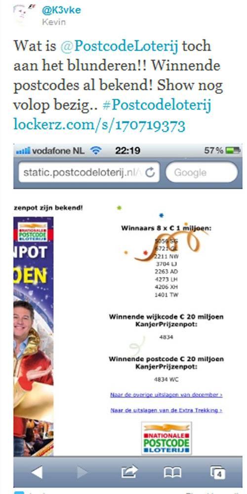 winnende postcodes