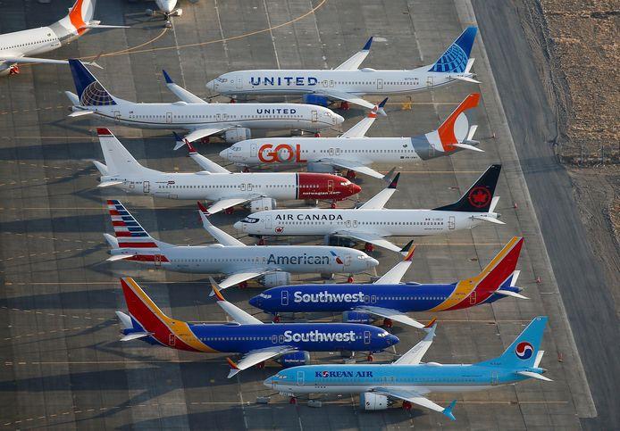 Archiefbeeld van verschillende Boeings 737's die geparkeerd staan op een vliegveld in Washington.