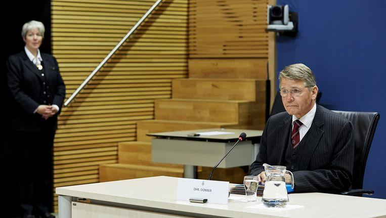 Piet Hein Donner, oud-minister van Binnenlandse Zaken, verschijnt voor de parlementaire enquêtecommissie woningcorporaties. Beeld ANP