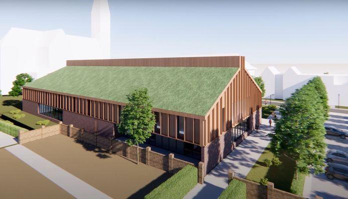 De achterzijde van het nieuwe gemeenschapshuis.