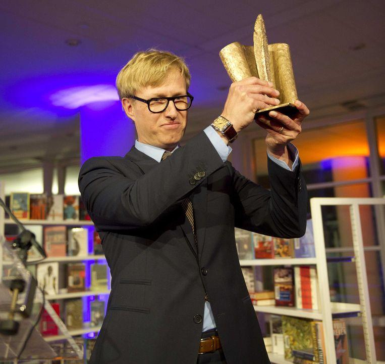 Peter Terrin kreeg in 2012 de 26e AKO Literatuurprijs voor zijn boek Post mortem. Beeld ANP Kippa