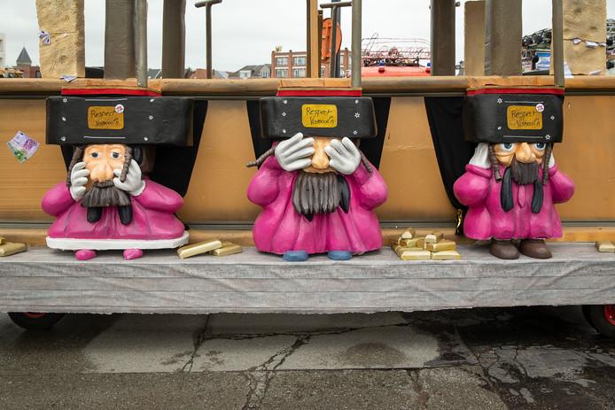 Caricature de juifs orthodoxes au carnaval d'Alost, ce dimanche 23 février.