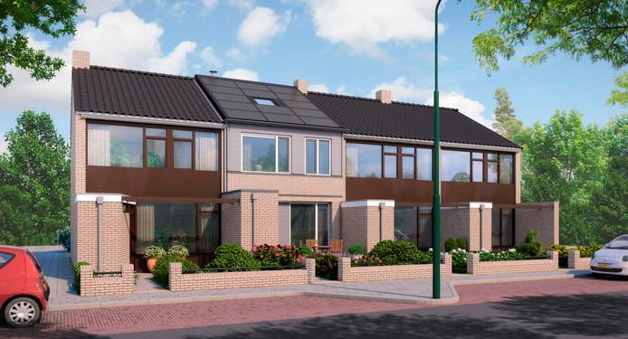 Een impressie van de woning in de nieuwe situatie; energieneutraal met nul op de meter.