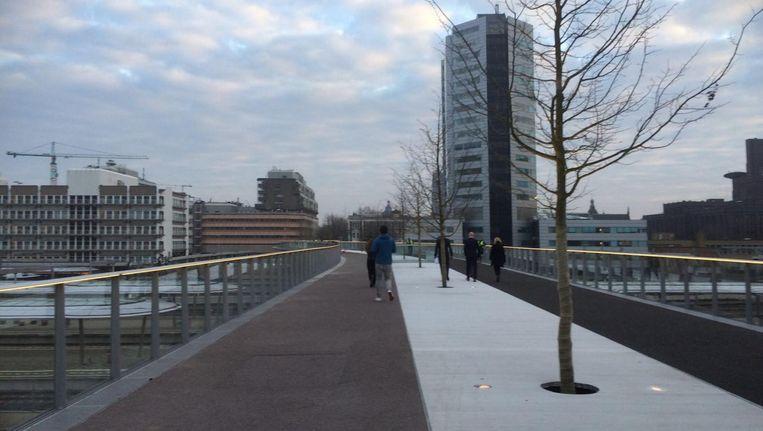 De nieuwe fiets- en loopbrug in Utrecht. Beeld Charlotte Huisman