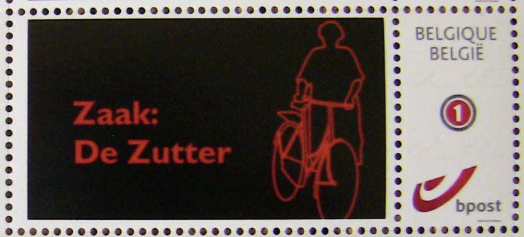 De postzegels met het logo van 'Zaak: De Zutter'.