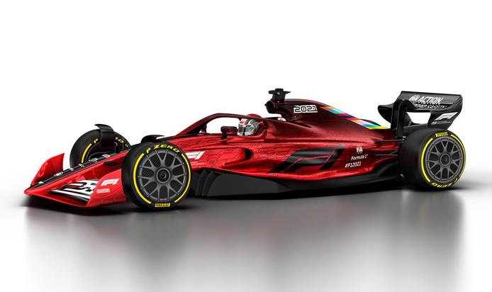 De nieuwe Formule 1-wagen, die straks liefst 25 kilo zwaarder zullen zijn.