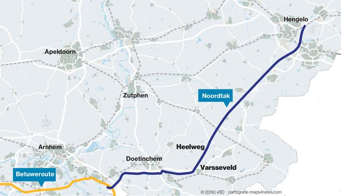 De Noordtak, zoals het goederenspoor mogelijk vlak naast de A18 en de N18 zou komen te liggen.