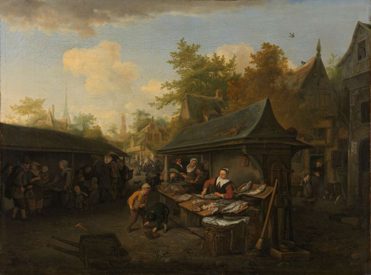 Vismarkt, Cornelis Dusart, 1683 Beeld