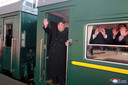 Kim Jong-un bij zijn vertrek in Pyongyang.