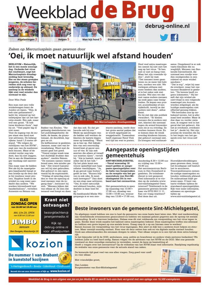 Toch verschenen deze week: weekblad De Brug. Maar lokale media zitten in uiterst zwaar weer. De MooiBoxtelKrant is niet uitgekomen.