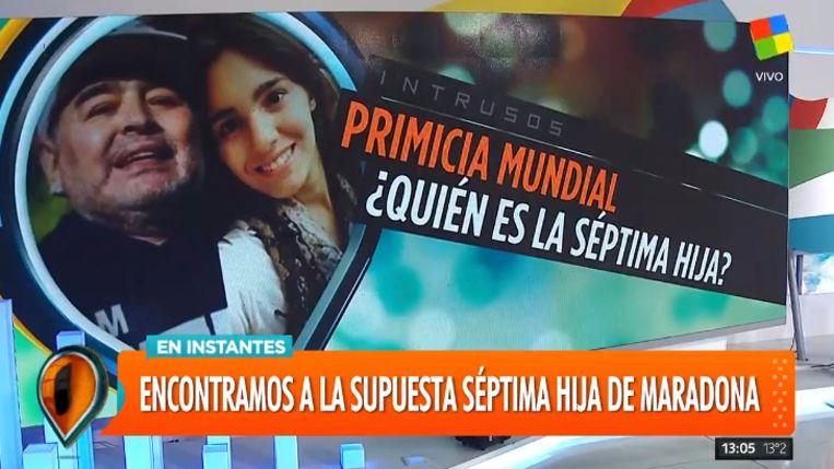 Het Argentijnse televisieprograma 'Intrusos' had de primeur over het mogelijke zevende kind van Diego Maradona.