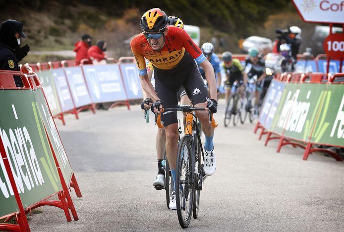 Wout Poels in actie tijdens de Ronde van Spanje.