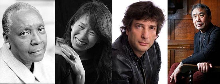Schrijvers Maryse Condé , Kim Thúy, Neil Gaiman en Haruki Murakami strijden om de Alternatieve Nobelprijs voor de Literatuur. Beeld AP, Reuters
