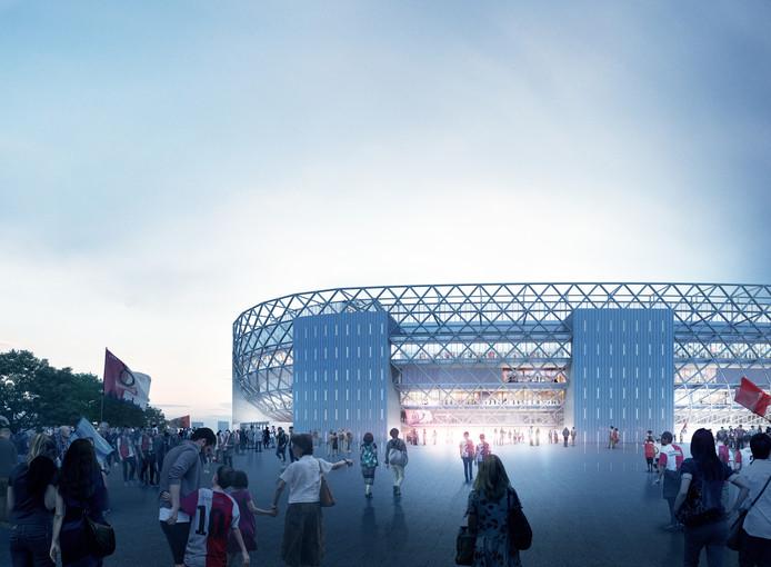 Voor de wedstrijd loop je via de publieke omloop direct naar de entrees van het nieuwe stadion.
