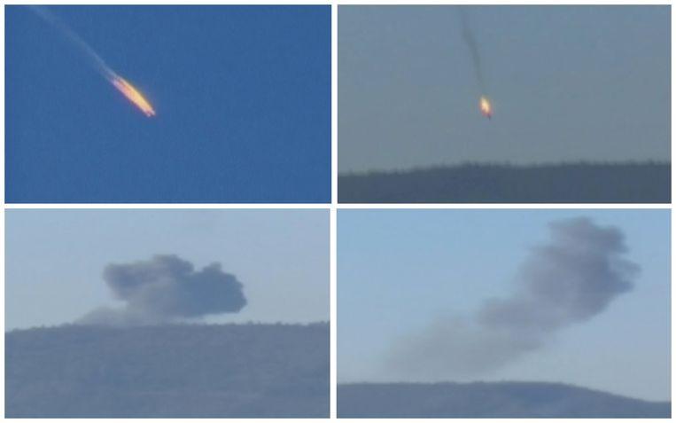 Beelden van het neerstorten van de Russische Su-24 in het noorden van Syrië. Moskou zegt dat het toestel zich in Syrisch luchtruim bevond toen het werd neergehaald door Turkije. Beeld reuters
