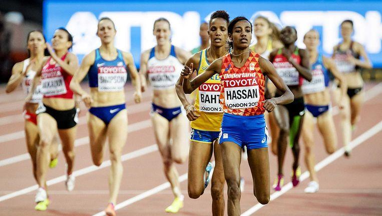 Sifan Hassan in actie tijdens de halve finale van de 1500 meter op de WK afgelopen zaterdag Beeld anp