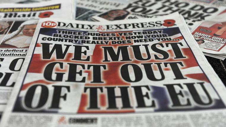 Schreeuwende koppen in Britse kranten nadat het gerechtshof het kabinet deze maand verbood te beginnen aan de Brexit zonder instemming van het parlement. Beeld afp