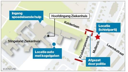 De schietpartij in Doetinchem vond plaats nabij het Slingeland Ziekenhuis.