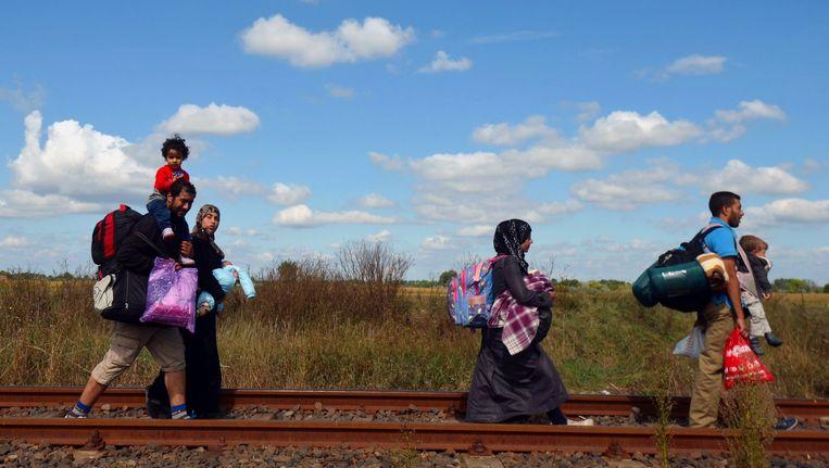 Migranten lopen in Hongarije langs het spoor bij de grens met Servië Beeld afp