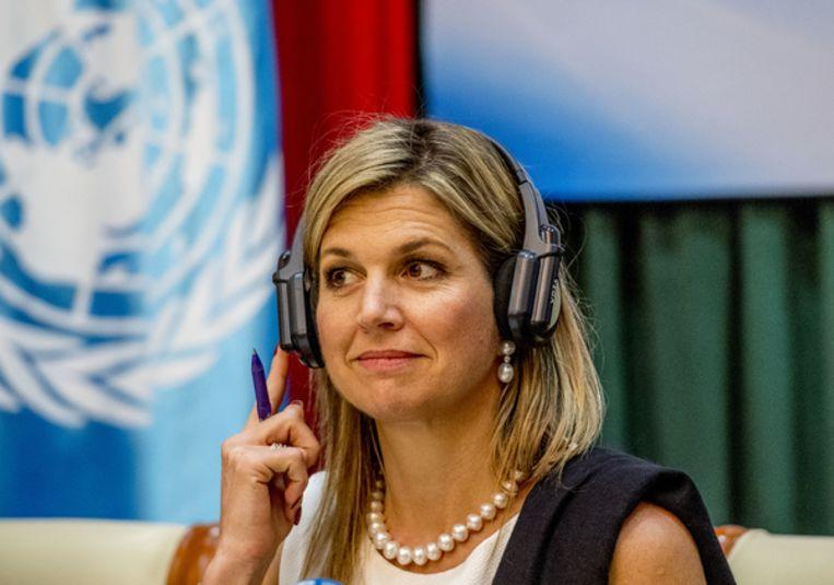 Koningin Máxima in haar functie als speciale pleitbezorger van de secretaris-generaal van de VN voor inclusieve financiering voor ontwikkeling Beeld ANP