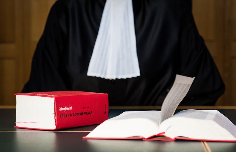 Een (binnenkort overbodige) rechter met wetboek in de rechtszaal. Beeld ANP