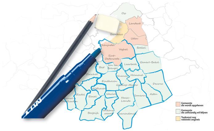 Overzicht gemeentelijke herindeling Zuidoost-Brabant.
