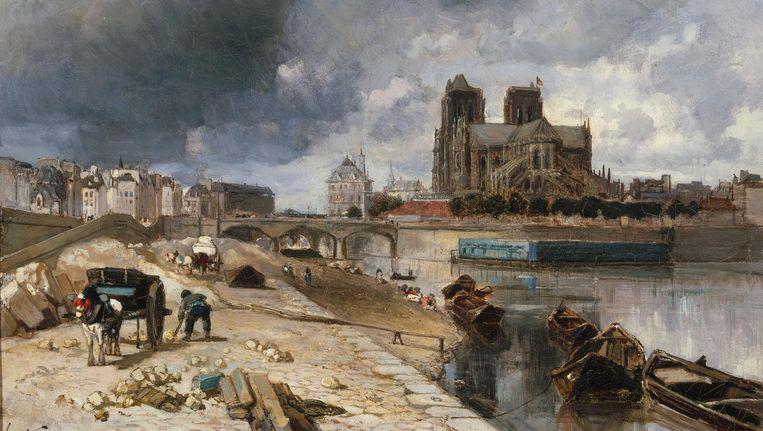 Johan Barthold Jongkind, Notre-Dame de Paris vue du quai de la Tournelle, 1852. Beeld  Foto Petit Palais, musée des Beaux-Arts de la Ville de Paris, Parijs
