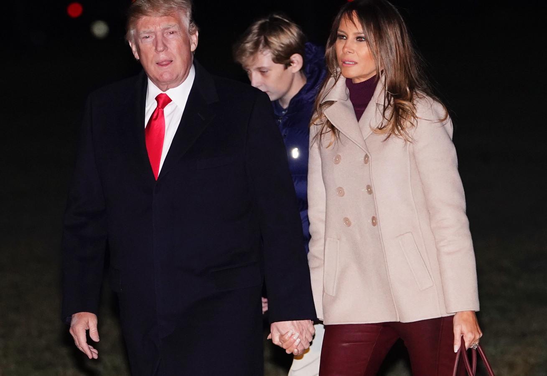 Donald Trump, zoon Barron, en vrouw Melania.