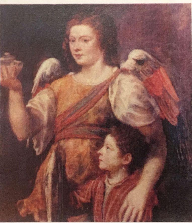 Omdat het om de maîtresse van Titiaan zou gaan, liet diens oudste zoon het schilderij kort na zijn dood omvormen tot 'Tobias en de engel', door de vrouw twee vleugels te geven.