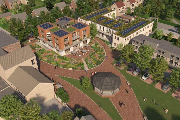 Eén van de vier ontwerpen voor het gemeentehuis: Hartje Geffen